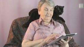 Starzejący się kobiet spojrzenia przy czarnym kotem indoors zbiory wideo