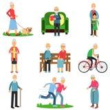 Starzejący się ludzie charakterów w różnych sytuacjach ustawiają, aktywny styl życia starsi mężczyzna i kobiety kreskówki wektor ilustracja wektor