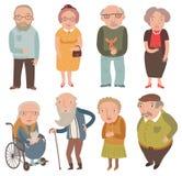 Starzejący się ludzie Starzy mężczyzna i kobiety Babcie i dziady ilustracja wektor