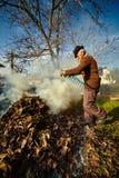 Starzy średniorolni płonący nieboszczyków liście Zdjęcia Royalty Free