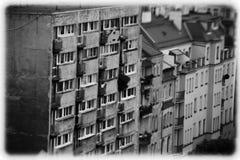 Starzy bloki mieszkaniowi w pocztówki formie Zdjęcia Stock