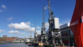 Starzy Bristol doki, żurawie i Zdjęcia Stock