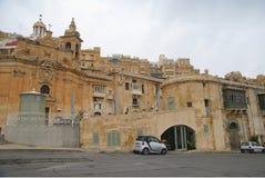 Starzy budynki Cate w Uroczystym schronieniu Valletta i Wiktoria Fotografia Royalty Free