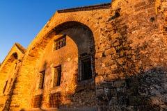 Starzy budynki w venetian schronieniu Chania przy zmierzchem, Crete, Grecja obraz royalty free