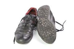 Starzy buty z koronkami odizolowywać na białym tle Obraz Royalty Free