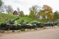 Starzy Ciężcy Wojenni zbiorniki w parku, Korosten, Ukraina Fotografia Royalty Free