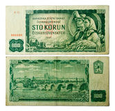 Starzy Czechoslovak banknoty Zdjęcia Stock
