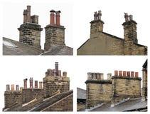 Starzy dachów kominy zdjęcia stock