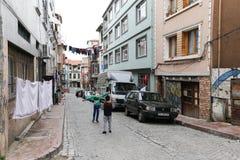 Starzy domy w Fener okręgu, Istanbuł, Turcja Zdjęcie Stock