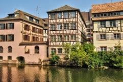 Starzy domy w okręgu los angeles Mały Francja w Strasburg Obrazy Stock