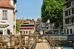 Starzy domy w okręgu los angeles Mały Francja w Strasburg Zdjęcia Stock