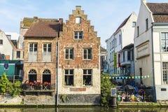 Starzy domy wzdłuż rzeki w Ghent, Belgia Obrazy Royalty Free