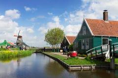 Starzy domy Zaanse Schans, holandie Obrazy Royalty Free