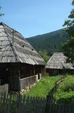 Starzy drewniani domy w Ukraine Fotografia Stock