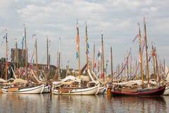 Starzy drewniani holenderscy żeglowanie statki Obraz Stock