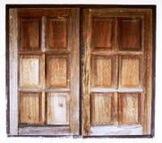 Starzy drewniani okno ilustracyjny lelui czerwieni stylu rocznik Obraz Royalty Free