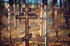 Starzy drewniani ortodoksyjni krzyże zdjęcie royalty free