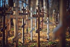 Starzy drewniani ortodoksyjni krzyże obraz stock