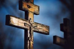 Starzy drewniani ortodoksyjni krzyże obrazy royalty free