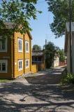 Starzy drewniani residentual budynki Loviisa Zdjęcia Royalty Free