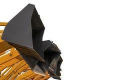 Starzy ekskawatorów wiadra podnoszący w górę pojedynczy bia?e t?o obraz royalty free