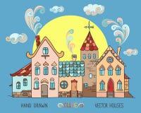 Starzy europejscy kolorowi domy Zdjęcie Royalty Free