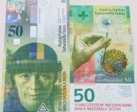 Starzy i Nowi Pięćdziesiąt Szwajcarskiego franka rachunków Zdjęcia Royalty Free