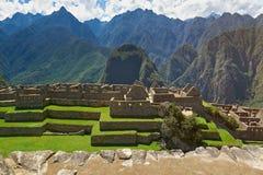 Starzy kamieni domy w Machu Picchu mieście Obrazy Stock