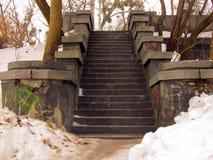 Starzy kamieni kroki na moście nad rzeką zdjęcie royalty free
