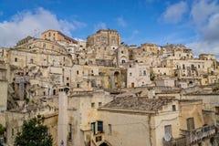Starzy kamienni budynki w miasteczku Matera, Włochy Zdjęcie Royalty Free