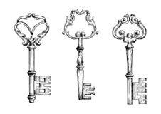Starzy kluczowi sketletons w nakreślenie stylu Obrazy Stock