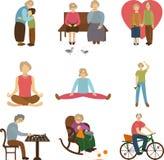 Starzy ludzie aktywnego, miłość starość starsi sporty, dzianie, spotkanie babcia i wnuk outdoors, i Płaskie ikony Obrazy Royalty Free