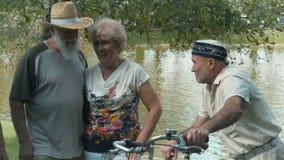 Starzy ludzie opowiadają pod wierzbą blisko stawu zdjęcie wideo