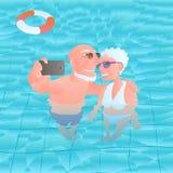 Starzy ludzie podróżuje wektorową ilustrację Zdjęcia Stock