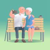 Starzy ludzie szczęśliwi i aktywna wektorowa ilustracja Zdjęcia Stock