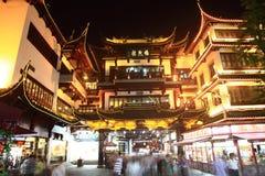 Starzy miasto bóg Świątynni przy nocą w Szanghaj YuYuan Fotografia Stock