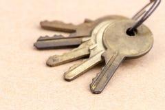 Starzy mosiędzy klucze z kluczowym łańcuchem Fotografia Royalty Free