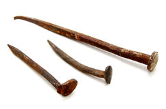 Starzy ośniedziali żelazo gwoździe Obrazy Stock