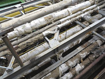 Starzy ośniedziali przemysłowi stalowi rurociąg, klapy i wyposażenie przy po, Obraz Royalty Free