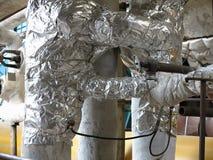 Starzy ośniedziali przemysłowi stalowi rurociąg, klapy i wyposażenie przy po, Obrazy Royalty Free
