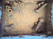 Starzy ośniedziali rygle, stal, dokrętki Zdjęcie Stock