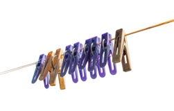 Starzy Odosobneni Clothespins Obrazy Royalty Free