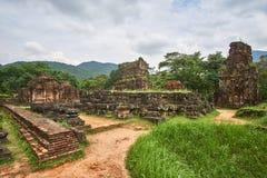 Starzy religijni budynki od Champa imperium - cham kultura W mój synu blisko Hoi, Wietnam (monaster krzyż) Światowego Dziedzictwa Zdjęcie Stock