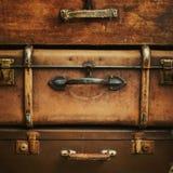 Starzy roczników bagażniki w stercie, kwadrat Zdjęcia Royalty Free