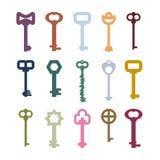 Starzy roczników klucze ustawiający Kolor wskazówki od antycznych kasztelów Drzwiowy vin royalty ilustracja