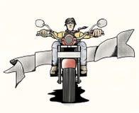 Starzy rowerzyści w kreskówka stylu Zdjęcia Royalty Free