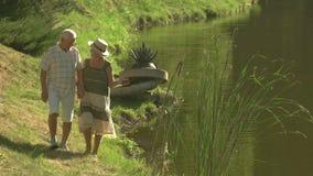Starzy szczęśliwi ludzie trzyma ręki outdoors zdjęcie wideo