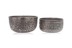 Starzy tajlandzcy stylu srebra puchary Obrazy Stock