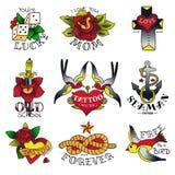 Starzy Tatuuje Szkolni emblematy ilustracja wektor