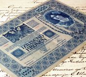 Starzy Tysiąc krone papierowych pieniędzy fotografia royalty free